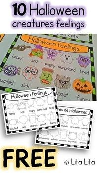 FREE 10 Halloween creatures feelings.. Spanish, Halloween Kindergarten, 1st, 2nd Resource Types   Worksheets, Fun Stuff, Printables This is a small part of a mini book that can be used to teach numbers (1-10), feelings and some Halloween vocabulary.   English & Spanish