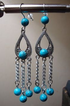 Turquoise teardrop earrings. $12.99