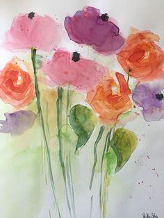 ORIGINAL AQUARELL Aquarellmalerei Bild Kunst Wiesenblumen Blumen Watercolor | eBay
