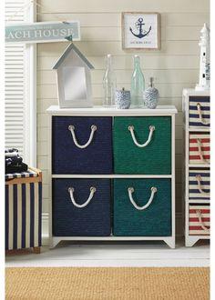 spray paint some wicker storage boxes Minus rope & nautical theme Mermaid Nursery, Mermaid Bathroom, Kids Bedroom, Bedroom Decor, Pirate Bedroom, Beach House Signs, Bedding Inspiration, Old Room, Nautical Home