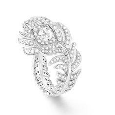 Boucheron White Gold and Diamond Plume de Paon Ring , Pear Shaped Diamond, Rose Cut Diamond, Jewelry Case, Fine Jewelry, Jewellery, Boucheron Jewelry, Small Rings, Lab Diamonds, Color Ring