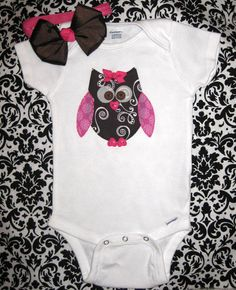 Girls Pink Owl Onesie with Matching BowBirthday Onesie by Zobows, $12.00