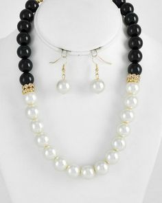 Bauble of the Day - Black and Cream Necklace and Earring Set - Only $12.99 and #Freeshipping