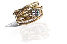 18K Gold Engagement Ring with Zircon by Vered by VeredLaorJewelry, $1250.00