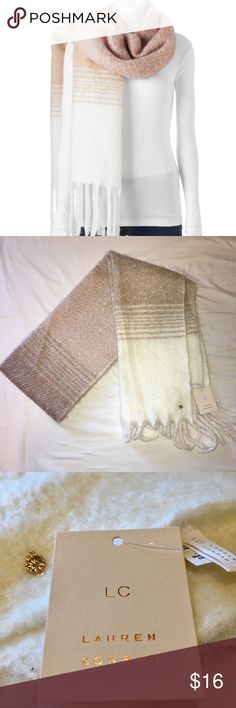 """Lauren Conrad Striped Fringed Oblong Scarf PRODUCT FEATURES •Dainty flower charm accent •Fringe details PRODUCT DETAILS •80"""" x 18"""" FABRIC & CARE •Acrylic •Hand wash - cold •Imported LC Lauren Conrad Accessories Scarves & Wraps"""