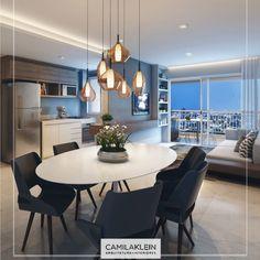 O modelo de mesa oval é excelente para uma sala de jantar pequena! É charmoso e bom para a circulação de pessoas. Neste tipo de ambiente, procuro evitar a decoração com móveis muito grandes. #jantar #apartamento #living #decor