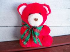Stuffed red plush teddy bear 6 inch white nose vintage Christmas Valentines Day