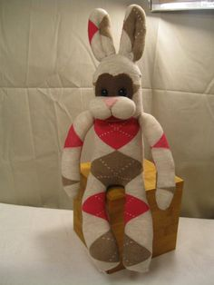 Sock Bunny Brown and Pink OOAK by JitterBugBark on Etsy, $25.00