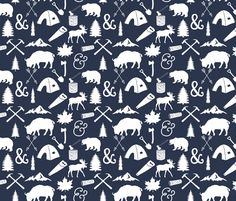 The Woodcutter // Navy fabric by ivieclothco on Spoonflower - custom fabric