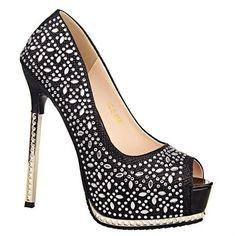 Stunning Sexy High Heel and Rhinestones Design Women's Peep Toed Shoes