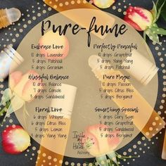 Don't these all just sound delightful! Have you found your own perfect pure-fume? Isn't it nice to know that you can make your own toxin… Essential Oil Perfume, Essential Oil Diffuser Blends, Doterra Essential Oils, Perfume Diesel, Perfume Versace, Perfume Calvin Klein, Roller Bottle Recipes, Homemade Perfume, Young Living Oils