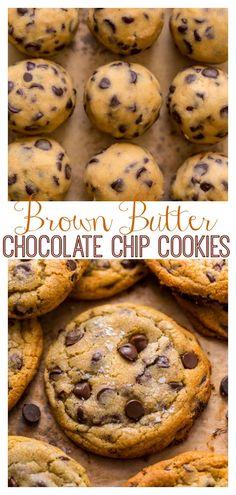 Best Chocolate Chip Cookies Recipe, Chip Cookie Recipe, Yummy Cookies, Cookie Recipes, Dessert Recipes, Cookies With Chocolate Chips, Simple Cookie Recipe, Christmas Chocolate Chip Cookies, Brown Butter Cookies