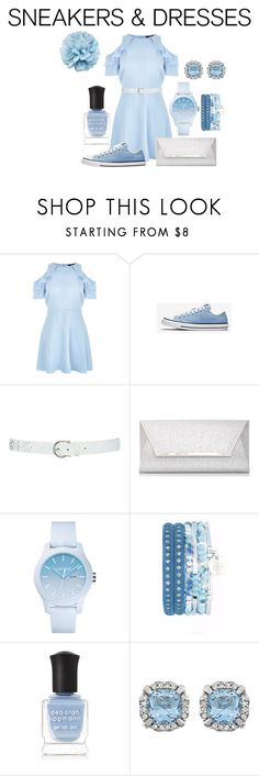 """Light Blue Dress Look with Sneakers"" by haley-16-16 ❤ liked on Polyvore featuring New Look, M&Co, Dorothy Perkins, Lacoste, Deborah Lippmann and Gucci"