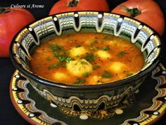 Supa de rosii cu galuste de malai – Culoare si Arome Vegan Soups, Vegetarian Recipes, Healthy Recipes, Baby Food Recipes, Cooking Recipes, Romanian Food, Artisan Food, Tasty, Yummy Food