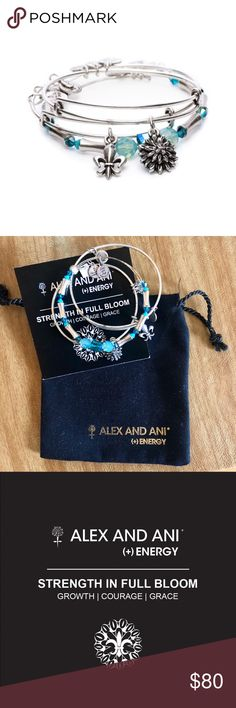 NWT Alex and Ani Strength in Full Bloom Set (3) NWT! This Alex and Ani set is in antique silver. The Strength in Full Bloom Set of 3 is a graceful yet powerful combination of symbols & vibrant color. The protective fleur de lis is a celebration of life. The water lily is a symbol of beauty through turmoil as it rises above the water to the light. Bright teal correlates with the throat chakra, encouraging the voice's power to ignite the hearts of others.  This set's proceeds benefited the…