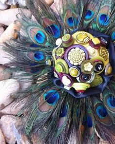 peacock button bouquet
