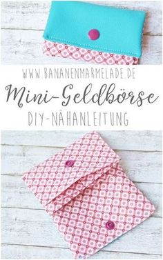 {Sewing Steps On Sunday} Nähanleitung Mini-Geldbörse - BANANENMARMELADE A step-by-step guide for a mini wallet, i. a small wallet that fits perfectly in your pocket! Suitable for beginners! Mini Wallet, Sew Wallet, Mini Purse, Small Wallet, Mini Bag, Diy Sewing Projects, Sewing Projects For Beginners, Sewing Tutorials, Sewing Tips