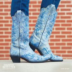 Blue boots by Country Outfitter Blue Cowboy Boots, Cute Cowgirl Boots, Blue Boots, Tiffany Blue, Country Girls, Country Outfitter, Cool Boots, Something Blue, Shades Of Blue
