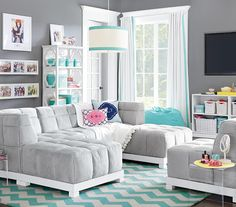 PB Teen Grey/Turquoise Room