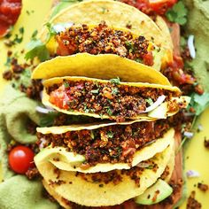 "Amazingly flavorful quinoa taco ""meat"" made with quinoa, smoky seasonings, and salsa! Baked until hot and crispy. A healthy substitute for ground beef!:"