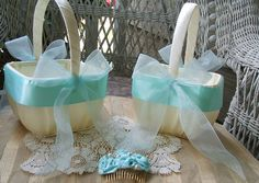Set of 2 Wedding Flower Girl Baskets Square Handmade Organza Tiffany Blue Flowergirl in White or Ivory. $50.00, via Etsy.