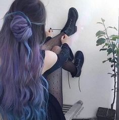 Account Suspended - Allilein - Account Suspended 👽 Grunge Style 👽 Grunge OUTFIT IDEAS 🌈 🤪 Stressed, depressed but wel. Hair Dye Colors, Hair Color Blue, Cool Hair Color, Blue Purple Hair, Pink Yellow, Dye My Hair, Pastel Hair Dye, Aesthetic Hair, Hair Highlights
