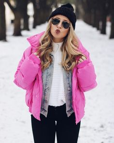Pink Puffer Coat Outfit   #pinkpuffercoat #winterfashion #winterstyle #snowdayoutfit