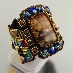 Beadwork cuff with jasper.