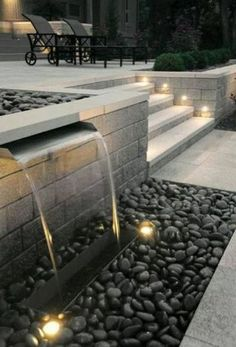 58 Amazing Backyard Waterfall And Pond Landscaping Ideas – Frugalliving.me 58 Amazing Backyard Waterfall And Pond Landscaping Ideas – Frugalliving. Modern Fountain, Fountain Design, Fountain Ideas, Modern Landscape Design, Modern Garden Design, Modern Design, Pond Landscaping, Modern Landscaping, Landscaping Design