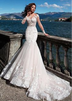 Fascinating Tulle Bateau Neckline See-through Bodice Mermaid Wedding Dress With . - Fascinating Tulle Bateau Neckline See-through Bodice Mermaid Wedding Dress With Lace Appliques & Bea - Stunning Wedding Dresses, Wedding Dresses For Girls, Perfect Wedding Dress, Bridal Dresses, Wedding Gowns, Bridesmaid Dresses, Tulle Wedding, Wedding Venues, Elegant Gowns