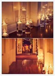 Floating Water Candles! would love to do this for a dinner party