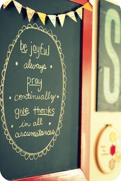 chalkboard paint + frame = daily Bible verses in home