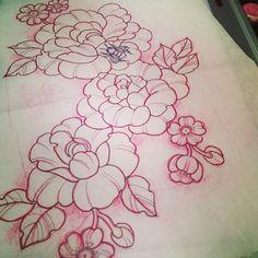 .@lillehildemoen | Sketch. #flowers #flowertattoo #tattoo #ink