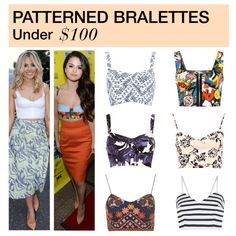 Under $100: Patterned Bralettes by polyvore-editorial on Polyvore featuring Boohoo, WearAll, River Island, Topshop, under100 and bralettes