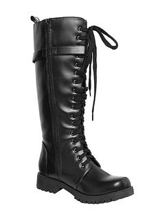 Volatile Black Strap Combat Boots | Hot Topic
