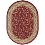 Elegance Red 5 ft. 3 in. x 7 ft. 3 in. Oval Indoor Area Rug