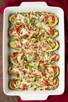 Get the recipe: Philly cheese steak zucchini boats Image Source: Cooking Classy Healthy Meals To Cook, Healthy Low Carb Recipes, Low Carb Dinner Recipes, Healthy Cooking, Healthy Snacks, Healthy Eating, Cooking Recipes, Skinny Recipes, Diet Recipes