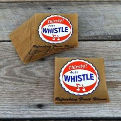 50 BULK WHOLESALE Original 1940s JUST WHISTLE Store Window Peel Back Decal LOT  #Soda