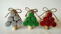 Set of 3 wine cork Christmas tree ornaments https://www.etsy.com/listing/475100192/set-of-3-wine-cork-christmas-tree #recycledwinebottles