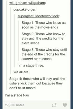 Stages of Marvel fans- SO many people leave before the first credit scene, MORE leave before the second scene!