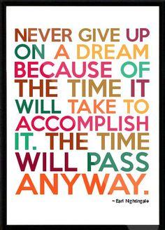 Nunca renuncies a un sueño por el tiempo que te toma alcanzarlo. El tiempo pasará de cualquier modo.