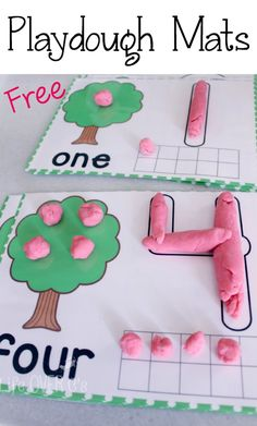 Kindergarten: Free Dough Mats for Counting to 10. Create flowers, apples, pears, peaches, cherries or whatever kind of tree you want while building fine-motor skills, number recognition and one-to-one correspondence.