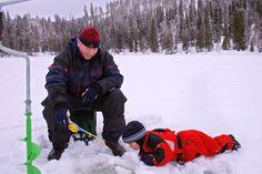 Winter fishing in Ruka-Kuusamo, Finnish Lapland