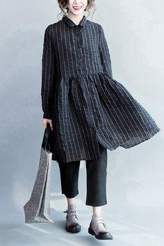 Bubble Cotton Black Stripe Lovely Dresses Long Sleeve Women Clothing Q3102