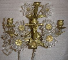 Brass and Crystal Flower Sconces