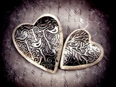 embossed pewter hearts