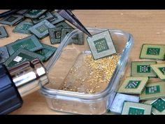 How to gold extraction process refining recycle ic circuit boards connectors CPU old computer phone - YouTube