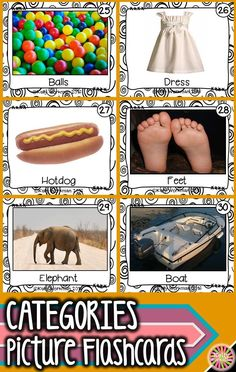 Looking for ideas to teach categories? Develop this early language skill by using photo flashcards which are perfect for speech therapy, special education, autism, ELL, and Preschool. Click to see the full set and to download a free guide for flashcard games and activities!