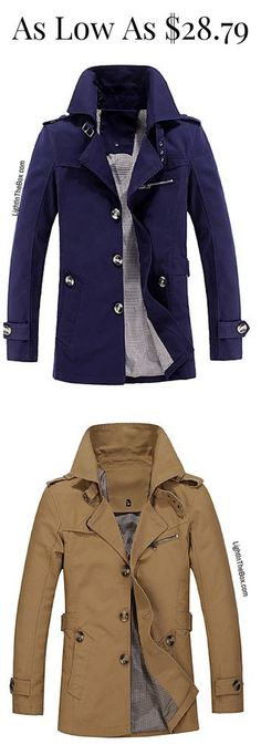 Casual chic men trench coat for work or daily wear. Find it in beige, blue or black colours at just $28.79. Click to shop.