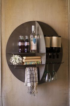 Love this wall bar for a small space - round metal wall wine bar  $299.00
